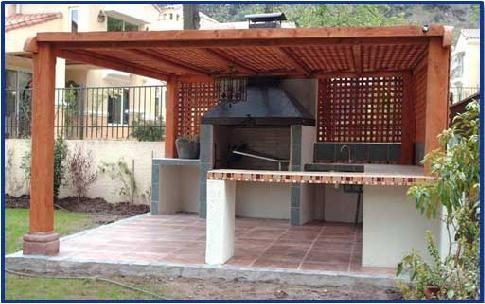 Una mesa en madera de guindo para el quincho madera for Modelos techos para garage