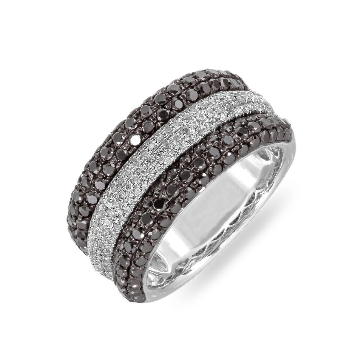 Striped black and white diamond ring<br /> at MissesDressy.com