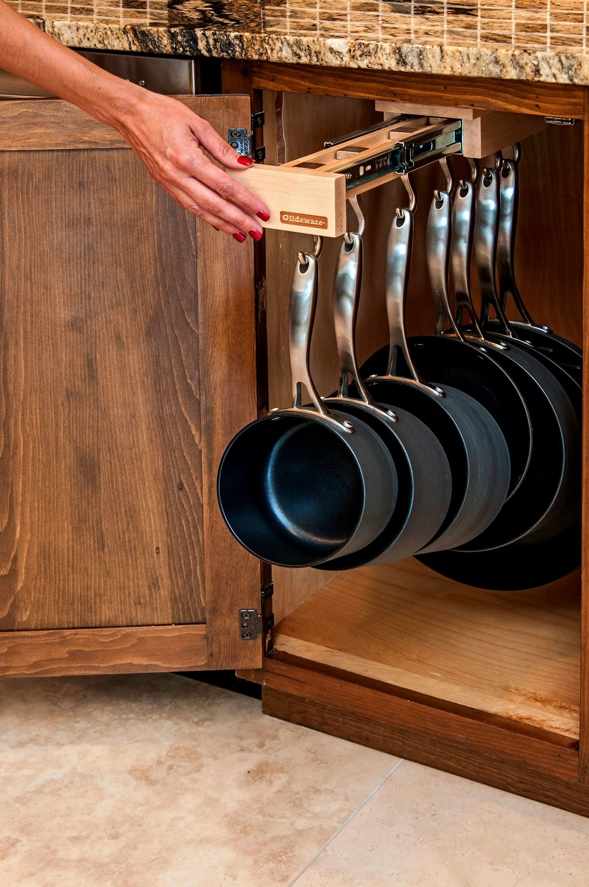 Kitchen:Cute Kitchen Pots And Pans Hanger Rack Storage Stainless Steel Cast  Iron Pan Glideware Pull Out Hooks Oak Wood Corner Frying Oil Drain Holder  ...