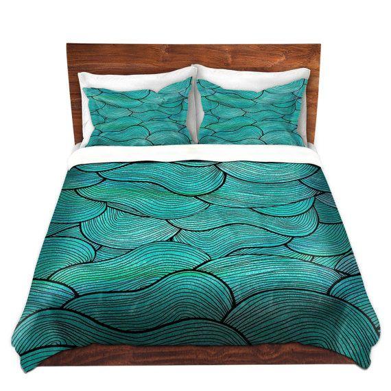 Plongee Vous Meme Dans Cette Mer Vagues Housse De Couette Turquoise