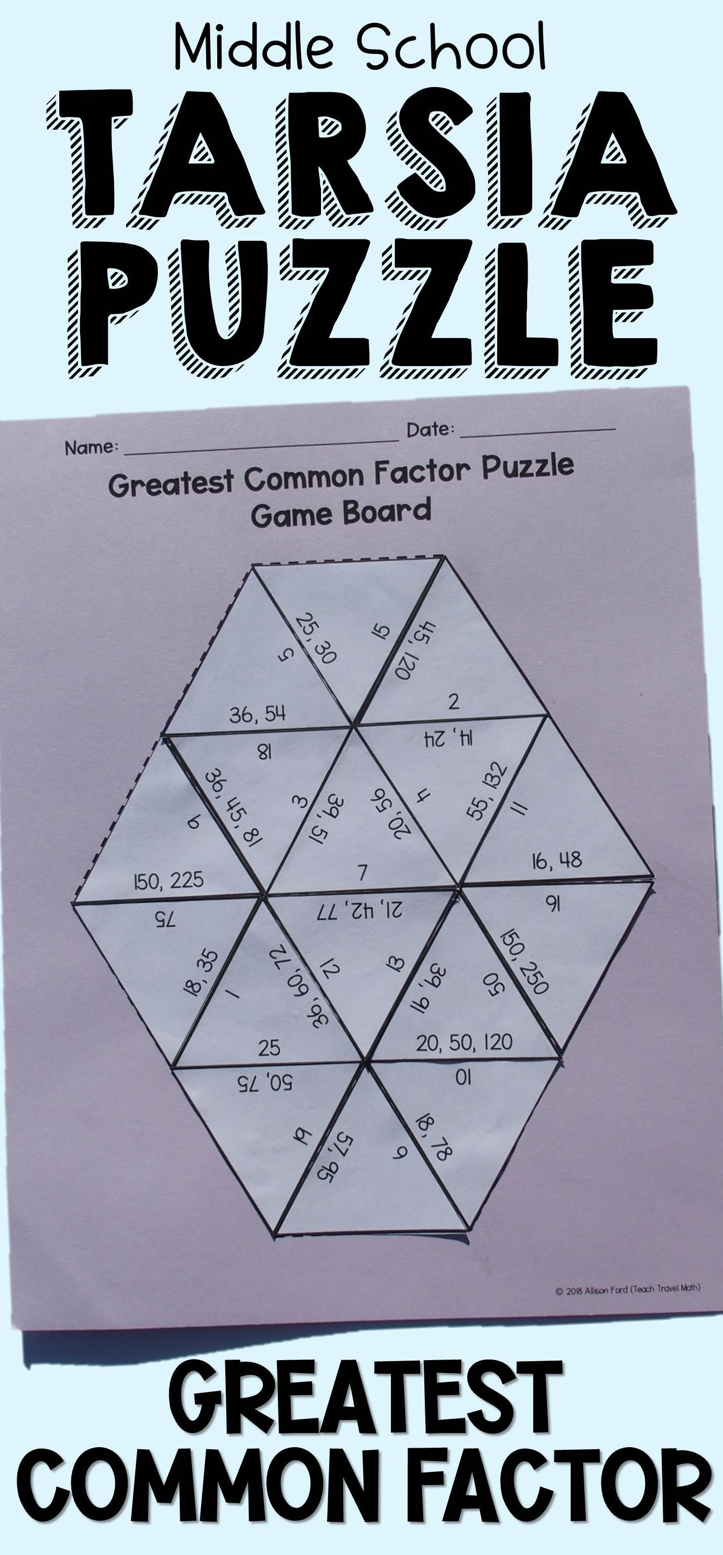 Greatest Common Factor Tarsia Puzzle