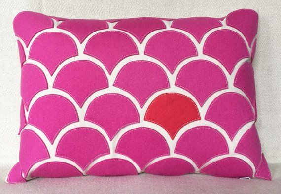 Hot pink wave pillow with wool felt applique on cotton canvas
