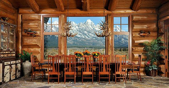 Attractive Log Cabin Dining Room