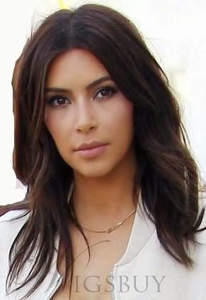 WigsBuy -  WigsBuy Kim Kardashian Medium Wavy Lace Front Human Hair Wig 16  Inches - AdoreWe.com 6580a108311c