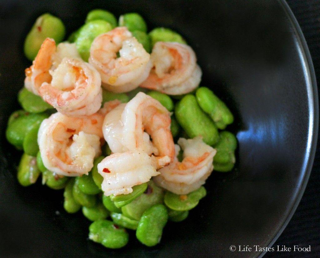 sauteed fava beans and shrimp