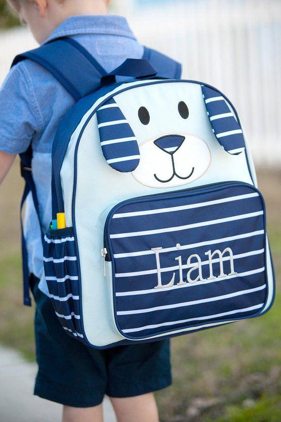 Blue Puppy Preschool Backpack-Boy Dog Book bag-includes Monogram-School Bag-Diaper  Bag 8fd15ea3fa4dc