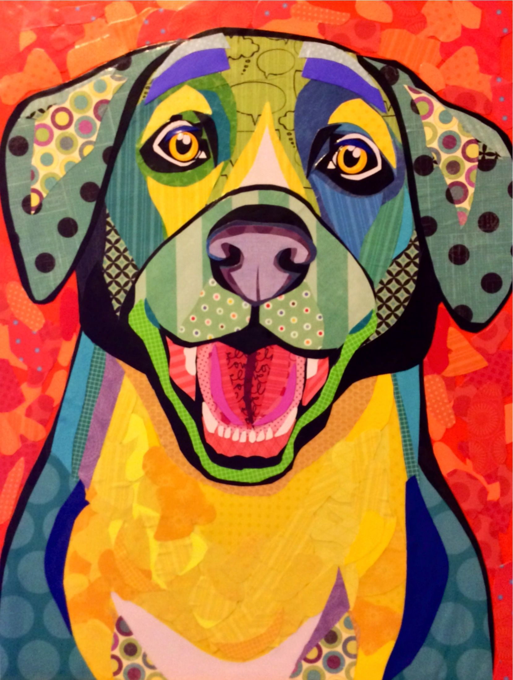 Scrapbook paper dogs - Scrapbook Paper Collage Dog Art Yay You Re Home
