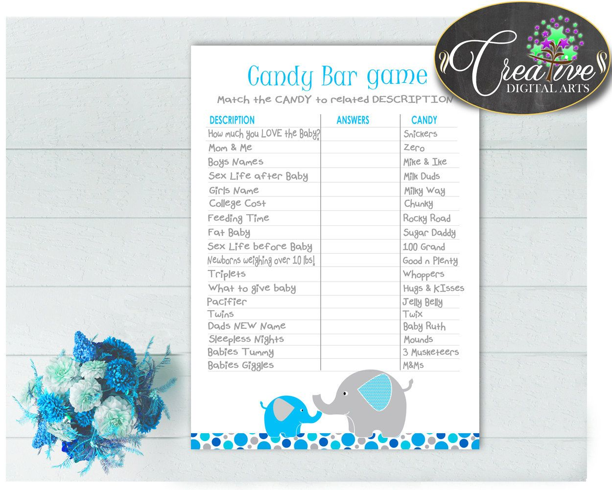 Baby Shower Boys Baby Shower Mammoth Questions Answers Match Up CANDY BAR  GAME, Party Décor