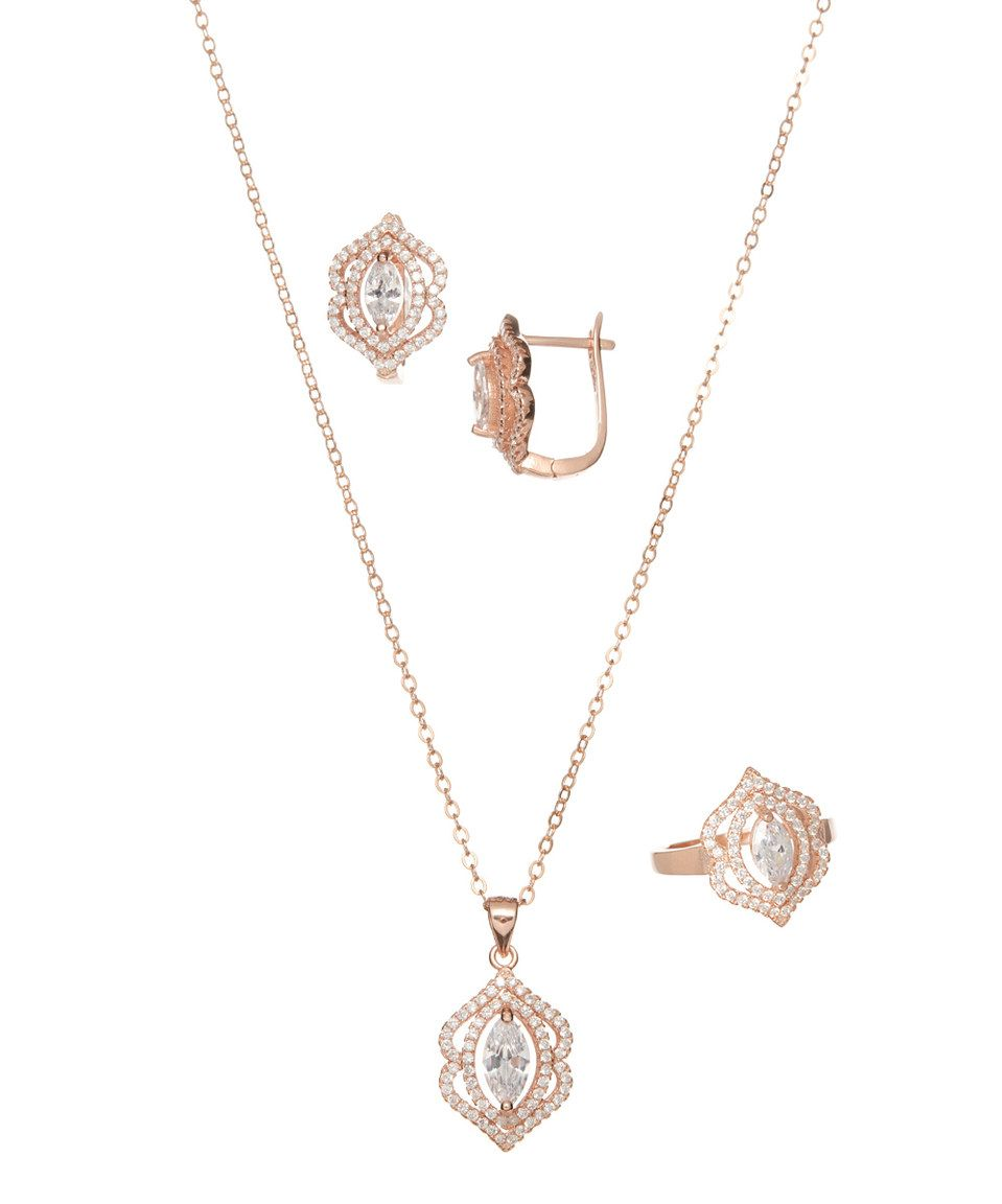 Love this rose gold u cubic zirconia necklace set by rel jewelers on