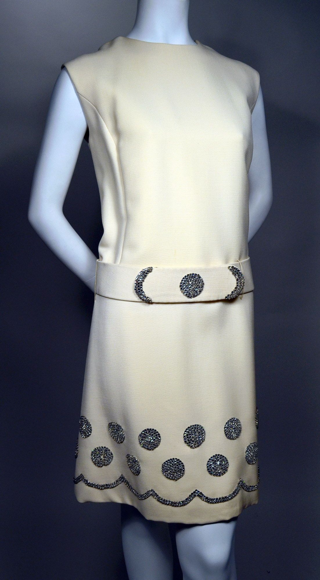 SPARKLING RHINESTONES ON CREAM COCKTAIL MINI - 1960's VINTAGE SLEEVELESS DROP WAIST SHIFT DRESS.  Available for sale at rpvintage.com.