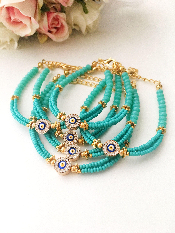 Turquoise bracelet, evil eye bracelet, miyuki beads bracelet, gift for her, birthstone bracelet, turquoise jewelry, evil eye beads, nazar #beads