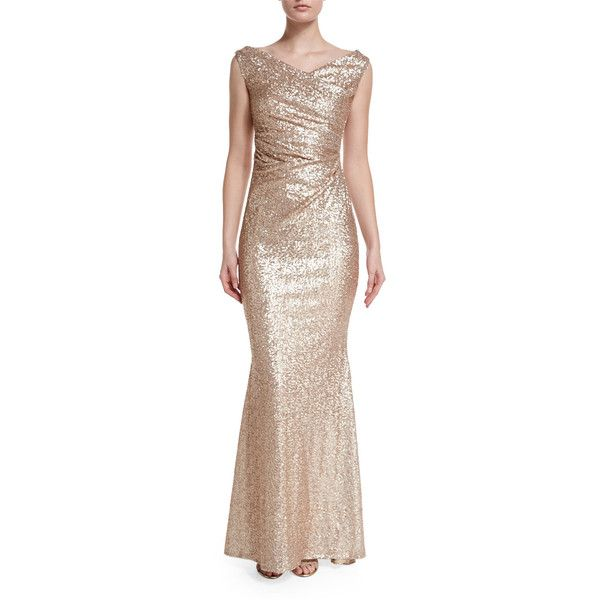 Talbot Runhof Sleeveless Iridescent Mermaid Gown (€1.960) ❤ liked on Polyvore featuring dresses, gowns, nude, sequin ball gown, sequin mermaid dress, sequin embellished dress, sleeveless dress and talbot runhof