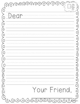 graphic regarding Letter Writing Template for Kids identified as Letter Creating Paper Template For Kindergarten - Floss Papers