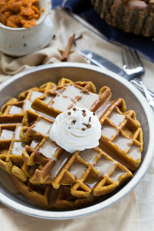 Pumpkin Waffles with the famous Kneaders copycat Caramel Syrup!