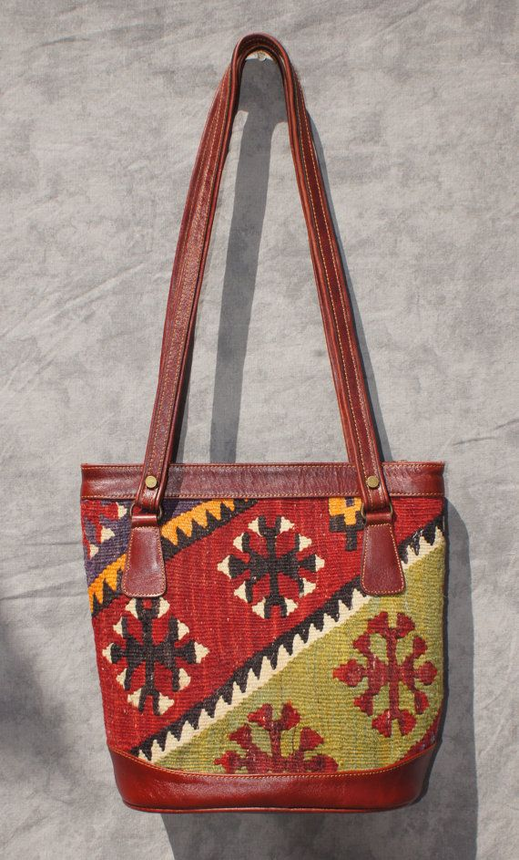 Turkish Carpet Bag Tote Kilim Purse Old World Colors