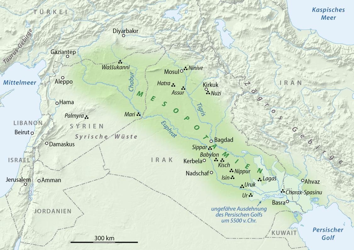 Mesopotamia Map Showing The Extent Of Mesopotamia