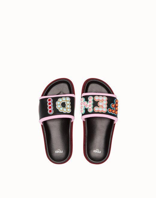 FENDI SANDALS - Black leather slides
