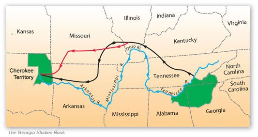 Trail Of Tears Route Map US History Chapter Pinterest - Map of us trail lines