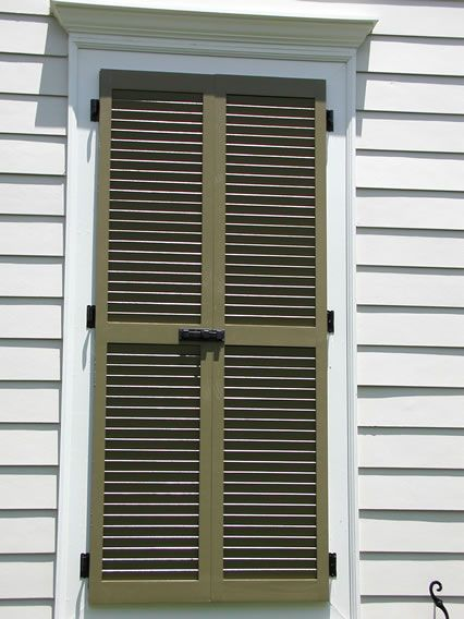 False Window With Louvered Shutter Slide Bolt Tie