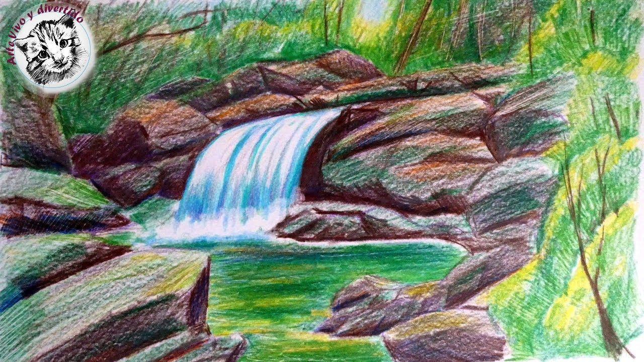 Como Dibujar Un Paisaje Realista Con Lapices De Colores Paso A Paso Lapices De Colores Paisajes Dibujos Lapices De Colores Dibujos