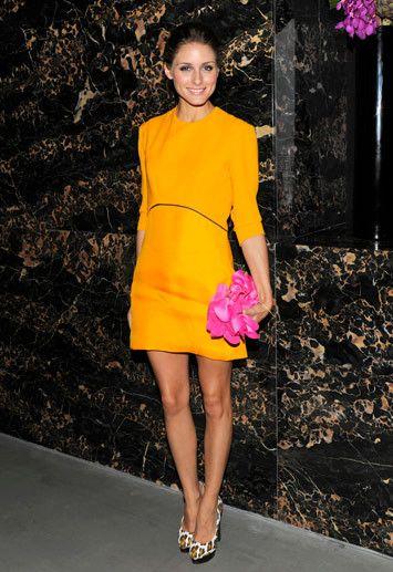 Olivia Palermo - Victoria Beckham dress, leopard-print Charlotte Olympia platforms, Sondra Robert satin clutch