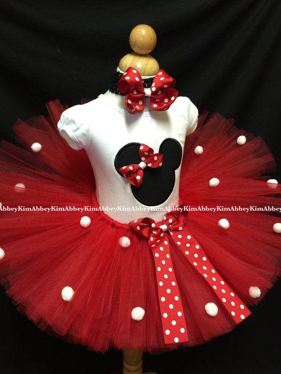 8c61cd894e Tutu de minnie mouse set pompones de arco rojo de silueta