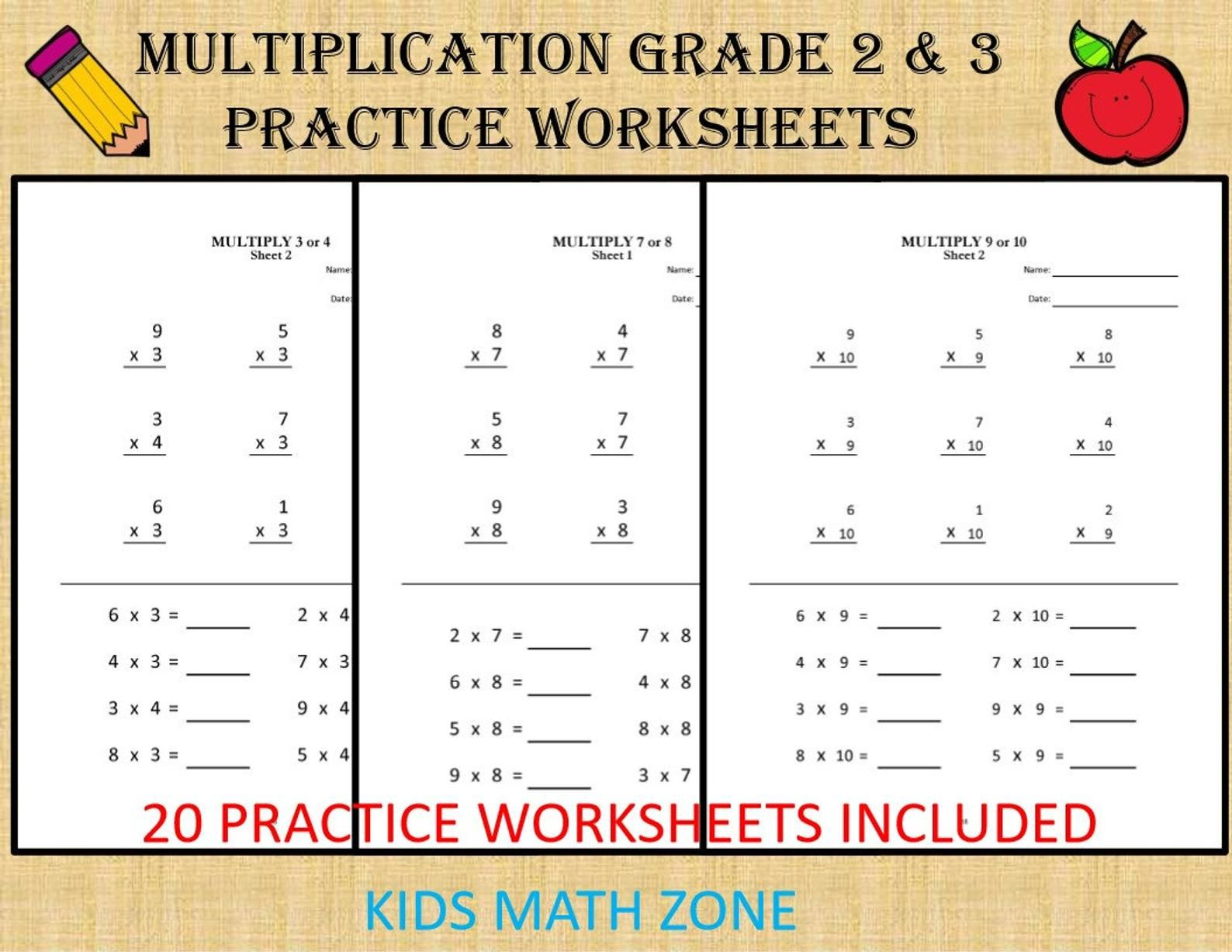 Multiplication Worksheets For Grade 2 3 20 Sheets Pdf Etsy Multiplication Worksheets 2nd Grade Worksheets Math Workbook
