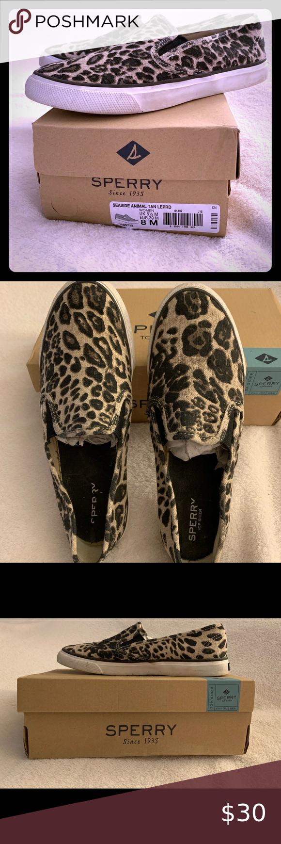 Sperry seaside leopard slip on sneakers