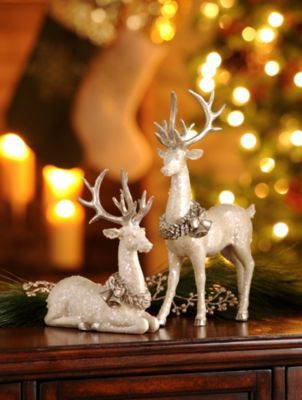 White Deer Statue Set Of 2 Christmas Deer Decorations Christmas Reindeer Decorations Deer Statues