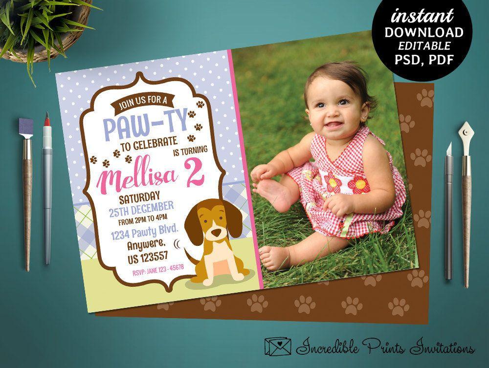 printable puppy 2nd birthday invitation template dog birthday