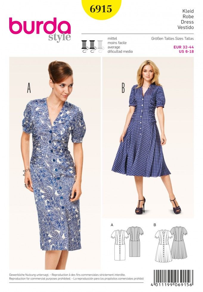 Burda Ladies Sewing Pattern 6915 - Vintage Style Button Up Dresses ...