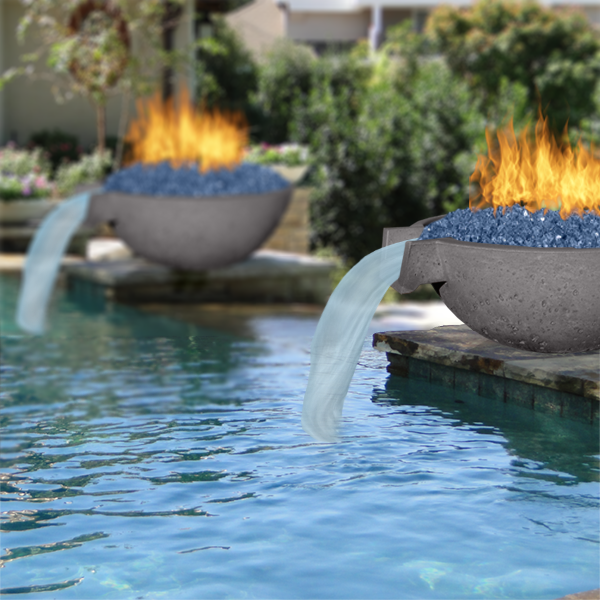 Real Concrete Fire And Water Bowls Looking For A New Centerpiece Why Not Go With A Fire And Water Bowl Modern Pools Pool Landscape Design Backyard Remodel