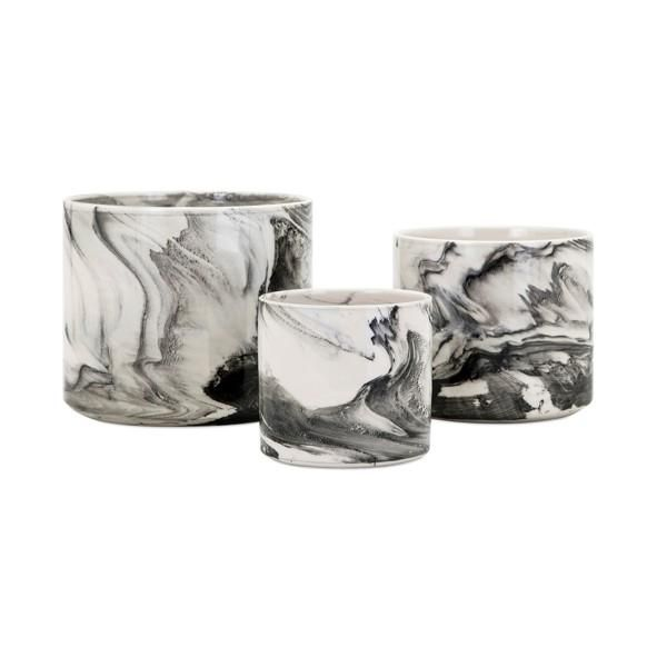 Kai Faux Marble Planters Set Of 3 Faux Marble Ceramic Planters Marbled Planter