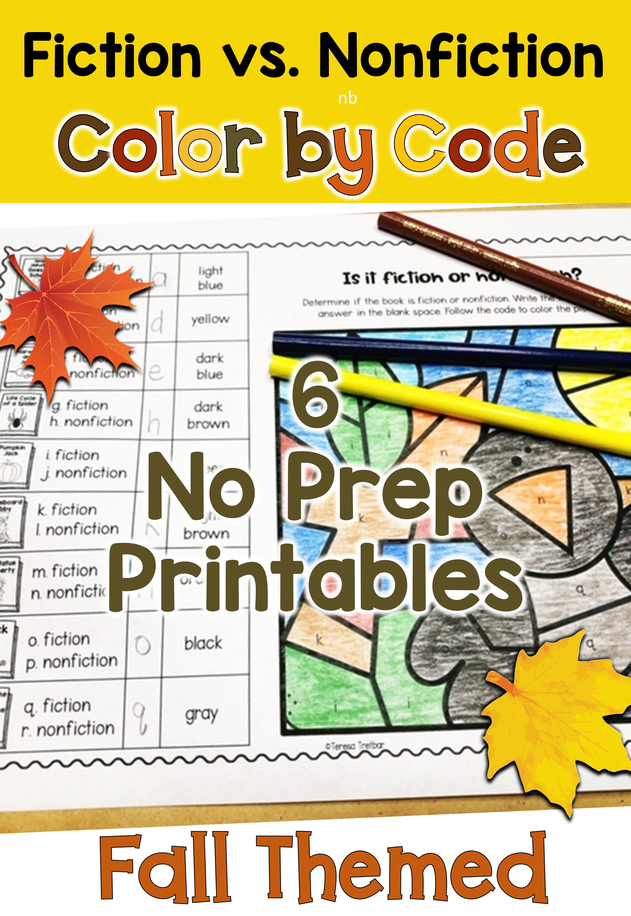 Fiction Vs Nonfiction Color By Code Fall Themed
