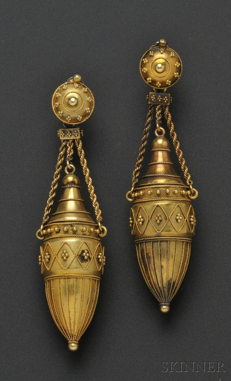 Fine Pair Of Etruscan Revival 18kt Gold Earpendants Urn-form Drop With Applied Bead And