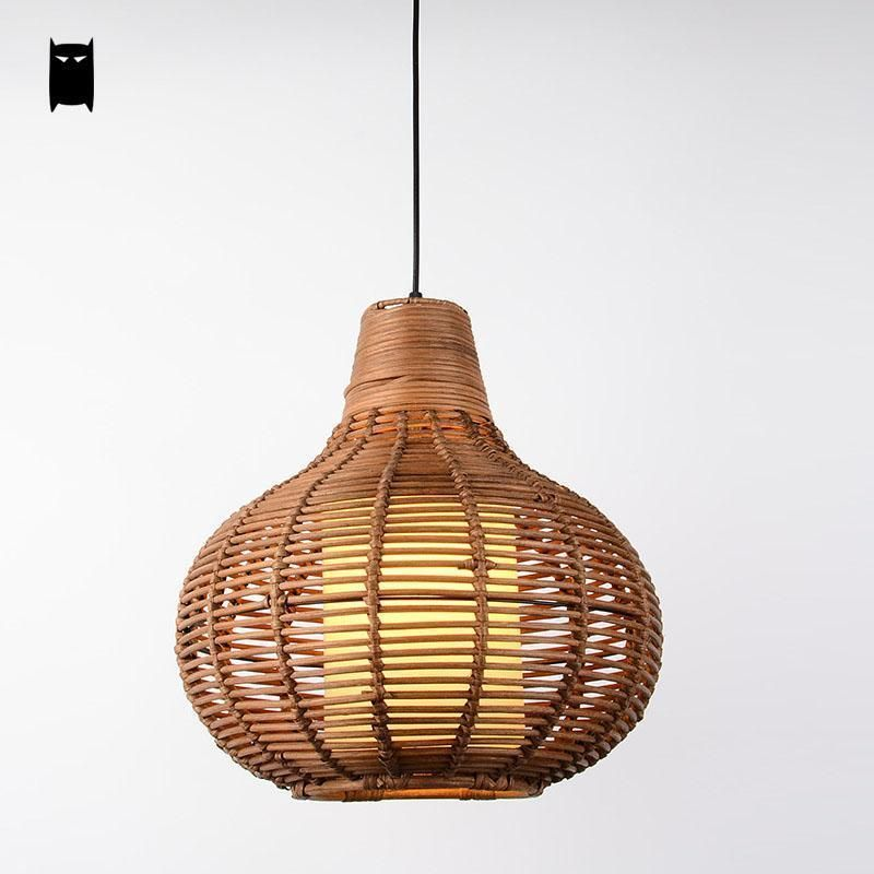 Coffee Wicker Rattan Gourd Pendant Light Fixture Vintage Asian Ceiling Lamp Room
