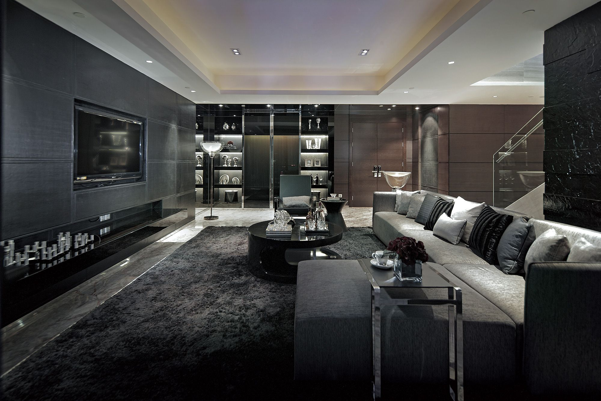 Excellent luxurious living room designs dark grey for Black grey interior design