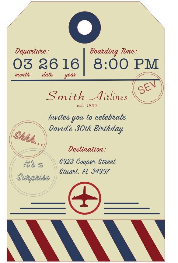 Aviation Airplane Birthday Invite Adult Invitation Luggage Tag