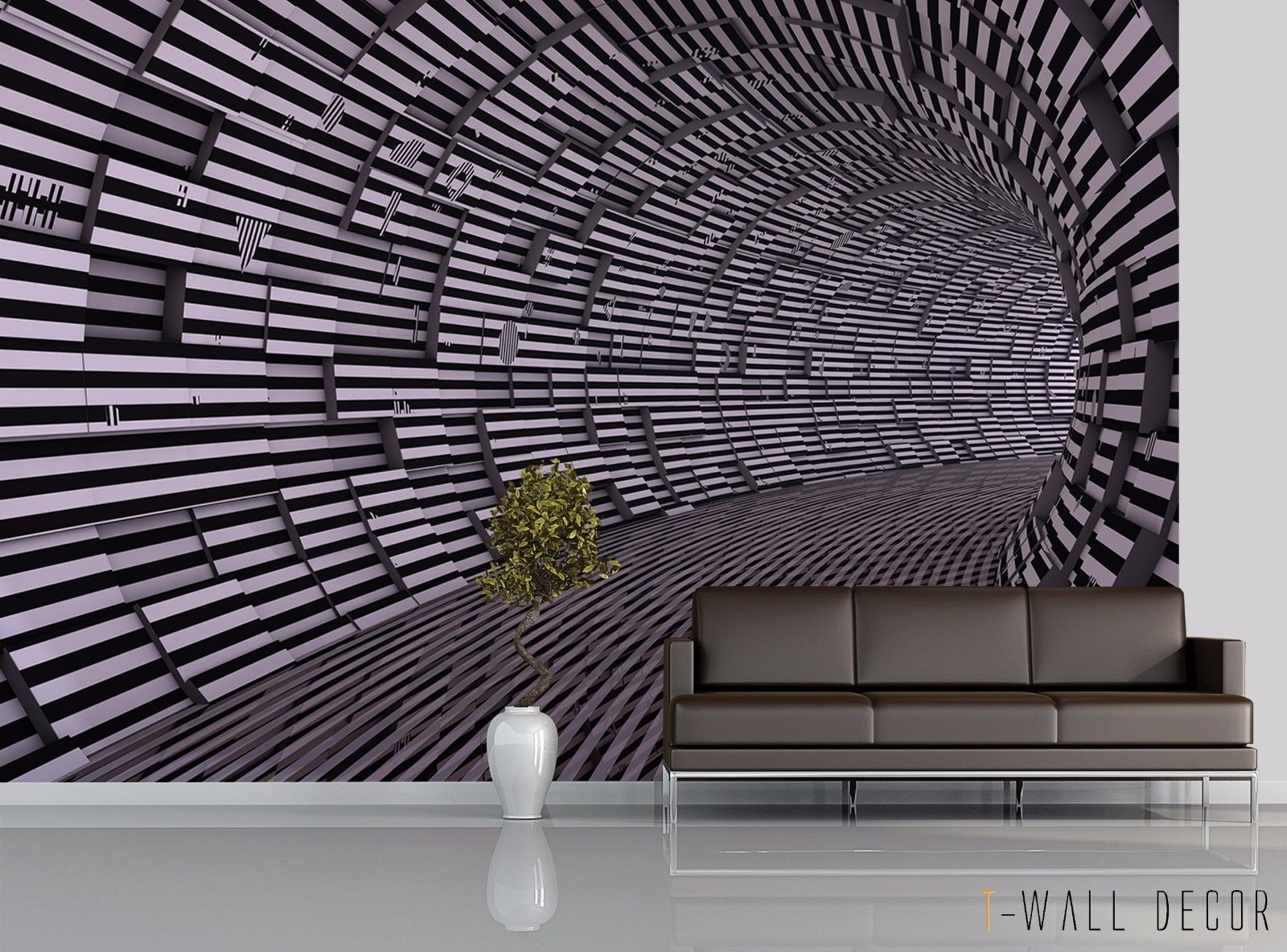 Photo Wallpaper Mural Room Modern Art Wall Decor 3d Matrix Tunnel Illusion Ebay Living Room Wall Designs 3d Wall Panels Modern Room