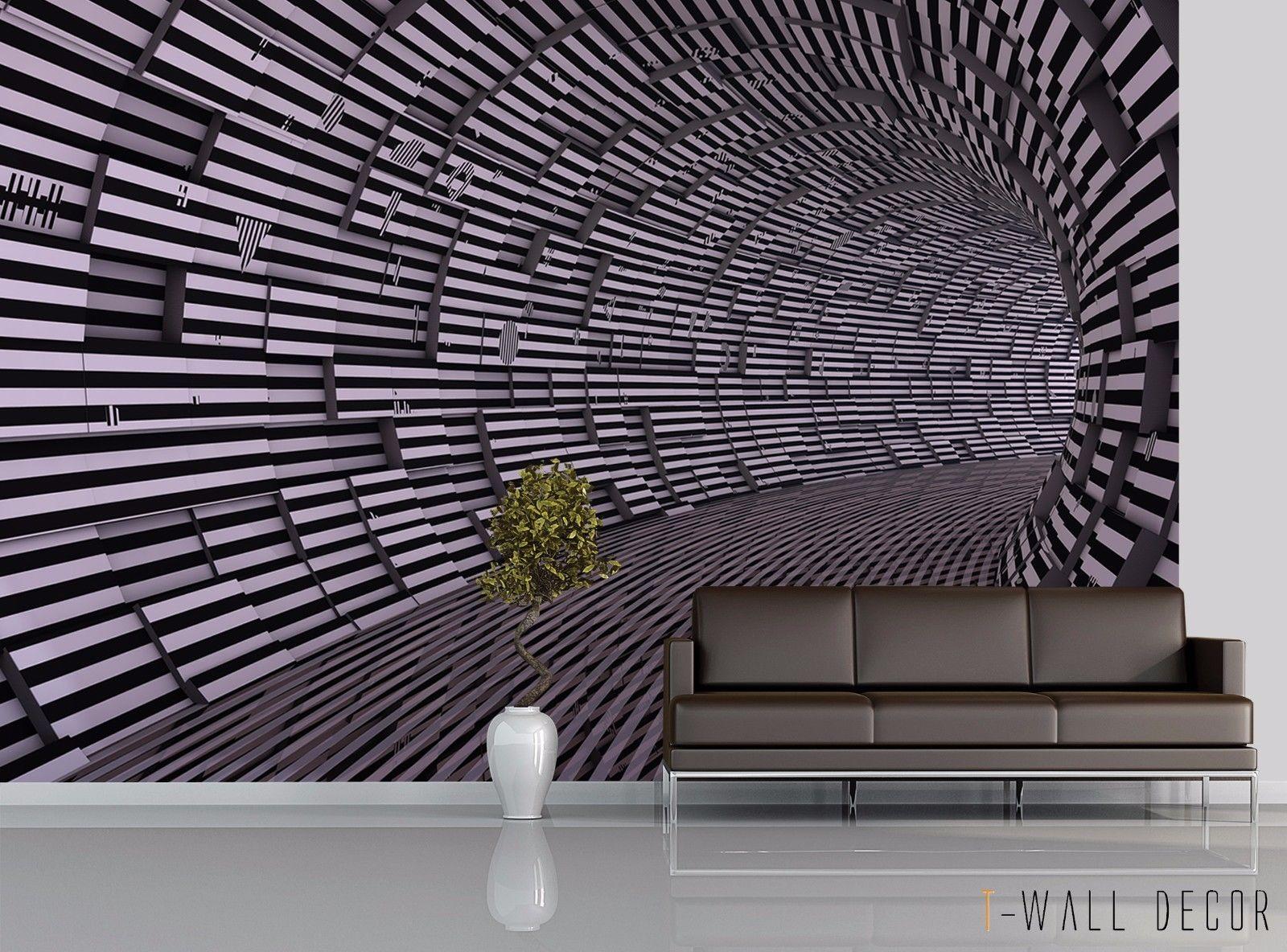 Photo Wallpaper Mural Room Modern Art Wall Decor 3d Matrix Tunnel