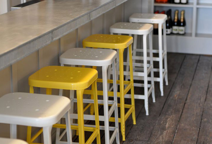 5 Favorites: Bright-Painted Industrial Stools: Remodelista  The Lyon Fixed Height Industrial Stools were custom powder-coated  $176.20 for two from Amazon.