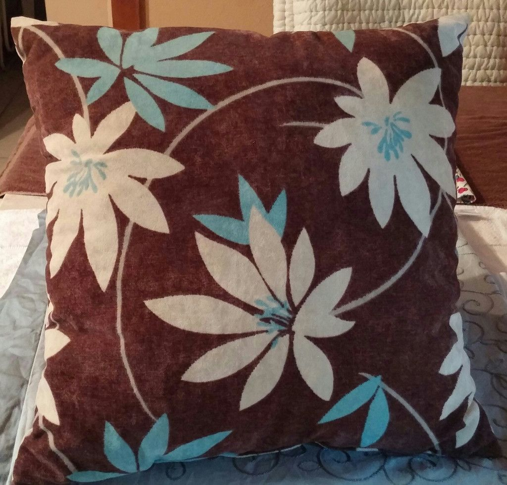 Complete Throw Pillow Dark Brown Super Soft Micro Suede Background, with Teal & Creamy Tan Flower Design.  See more at SherriesLuckyQualityFinds.com