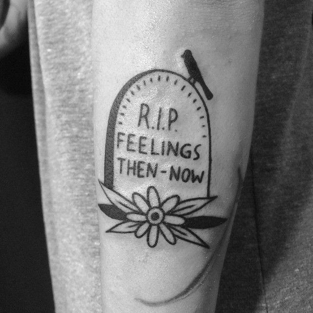 Square Tattoo: Feelings Gravestone Tattoo By Louis Brengard At Black