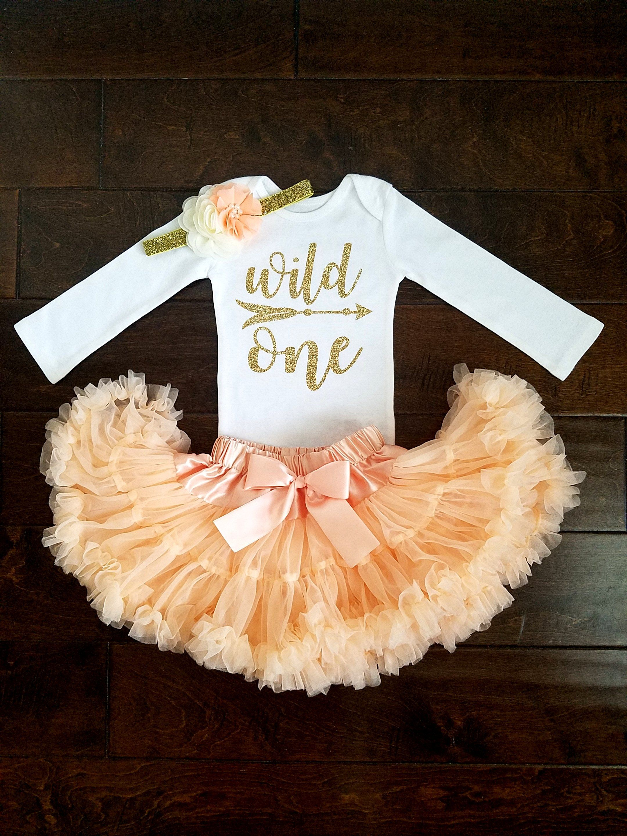 8875f2578 Wild One First Birthday Outfit Peach And Gold Tutu | Bows, headbands ...