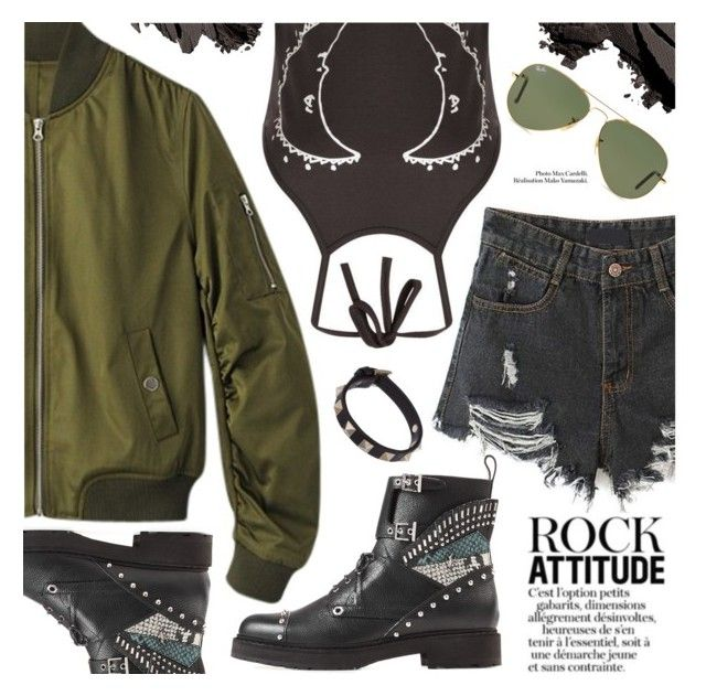 """Rocker Chic"" by black-fashion83 ❤ liked on Polyvore featuring Fendi, Valentino, Bobbi Brown Cosmetics and Ray-Ban"