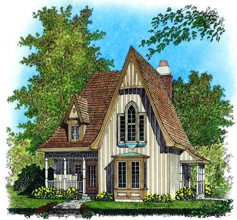 Narrow Lot Style House Plan 86045 With 2 Bed 2 Bath Gothic House Victorian House Plans Cottage House Plans
