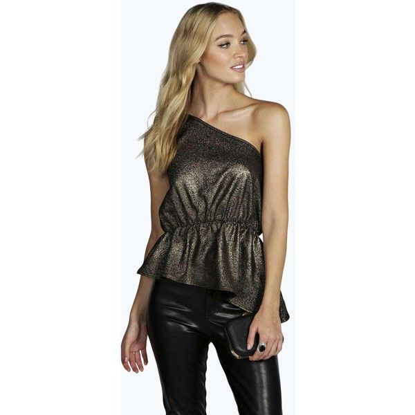 43bde0cfddac2 Boohoo Night Clara One Shoulder Metallic Asymmetric Peplum Top ( 9) ❤ liked  on Polyvore featuring tops