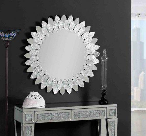 Espejos redondos decorados en pan de plata modelo for Espejos decorativos modernos bogota