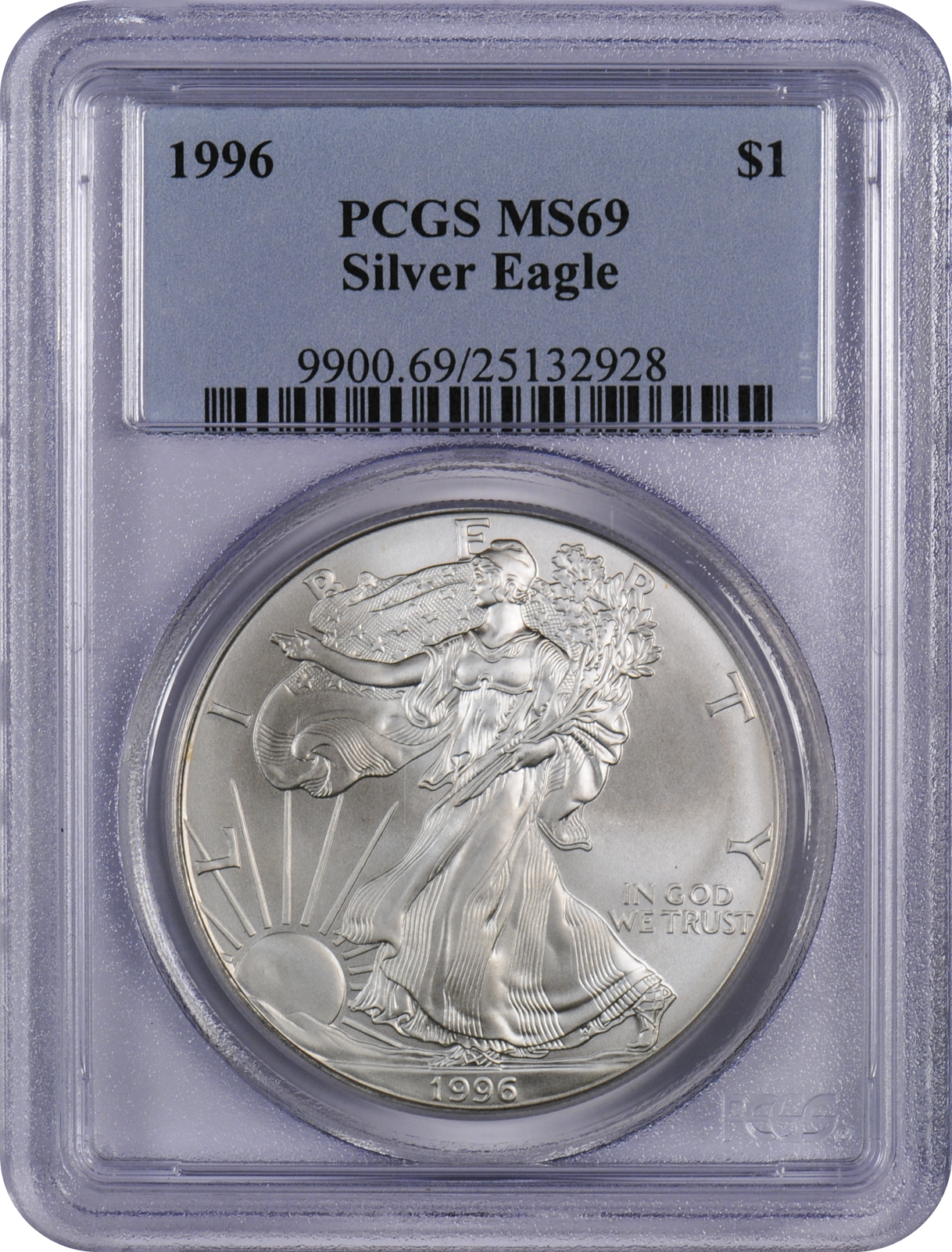 This 1996 Pcgs Ms69 Silver Eagle Is A Popular Coin For Investors And Collectors Alike This Coin Has A Face Value Of O Silver Eagles Pcgs Silver Bullion Coins