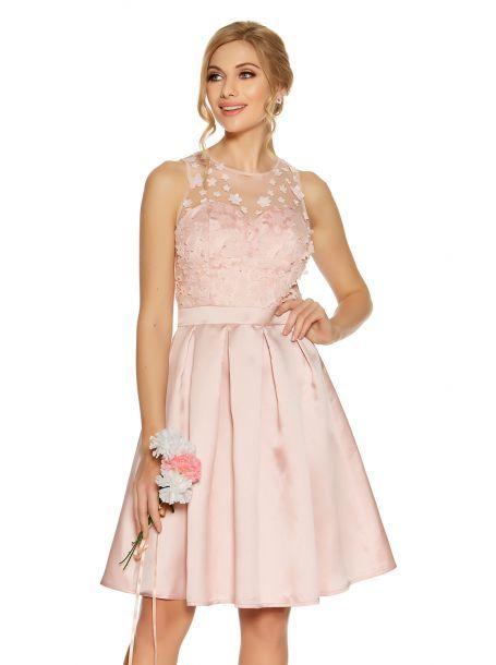 7460abda7fb5 Pink Satin And Mesh 3D Flower Prom Dress   Prom dress